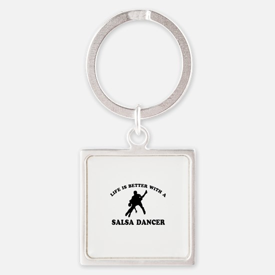 Salsa Dancer vector designs Square Keychain