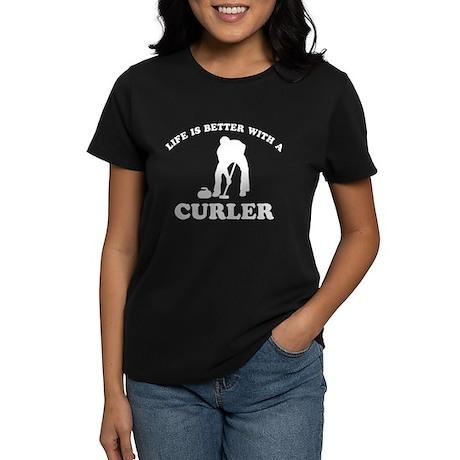 Curler vector designs Women's Dark T-Shirt