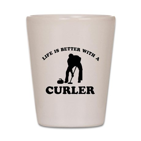 Curler vector designs Shot Glass