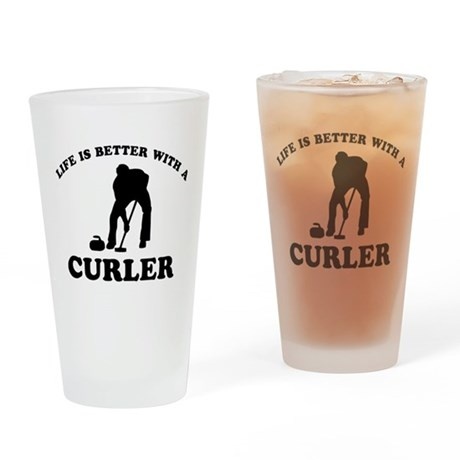 Curler vector designs Drinking Glass