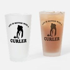 Curler vector designs Drinking Glass