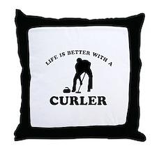 Curler vector designs Throw Pillow