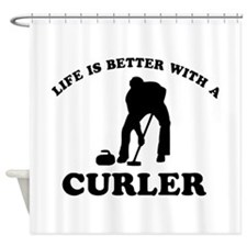 Curler vector designs Shower Curtain