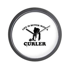 Curler vector designs Wall Clock