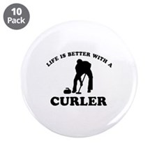 """Curler vector designs 3.5"""" Button (10 pack)"""