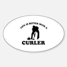 Curler vector designs Sticker (Oval)
