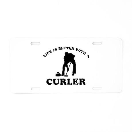 Curler vector designs Aluminum License Plate