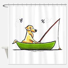 Yellow Lab Fishing Shower Curtain
