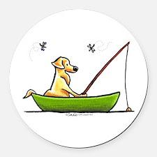 Yellow Lab Fishing Round Car Magnet