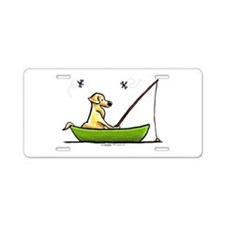 Yellow Lab Fishing Aluminum License Plate