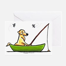 Yellow Lab Fishing Greeting Card