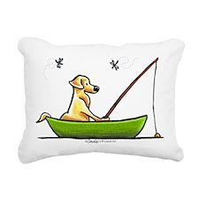 Yellow Lab Fishing Rectangular Canvas Pillow