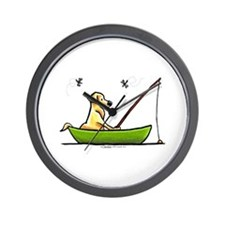 Yellow Lab Fishing Wall Clock