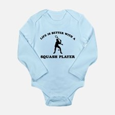 Squash Player vector designs Long Sleeve Infant Bo