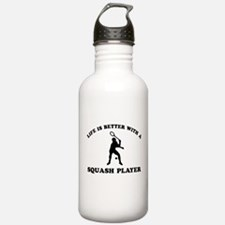 Squash Player vector designs Water Bottle