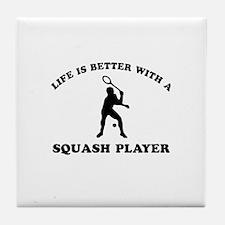 Squash Player vector designs Tile Coaster