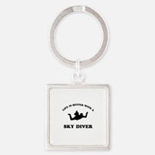 Sky Diver vector designs Square Keychain