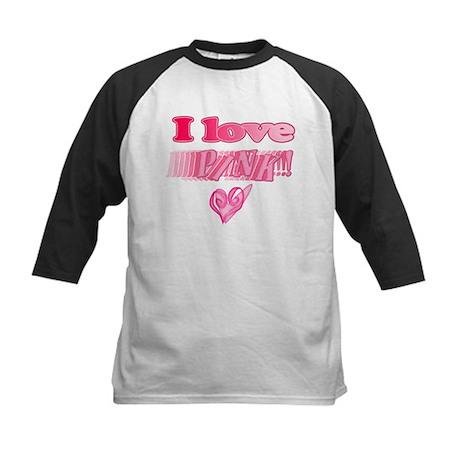 I Love Pink Kids Baseball Jersey