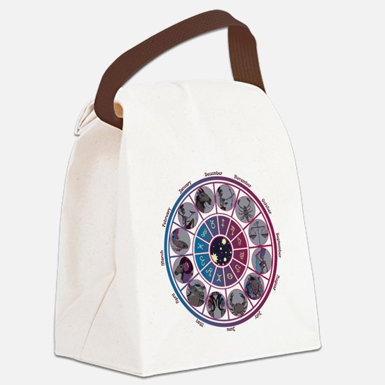 Starlight Zodiac Wheel Canvas Lunch Bag