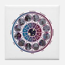 Starlight Zodiac Wheel Tile Coaster