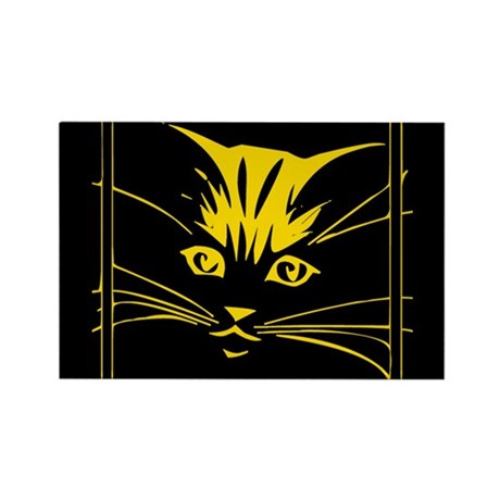 Gold Cat Face Rectangle Magnet (10 pack)
