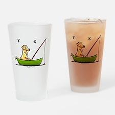 Yellow Lab Fishing Drinking Glass