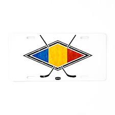 Romanian Ice Hockey Flag Aluminum License Plate