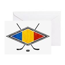 Romanian Ice Hockey Flag Greeting Card