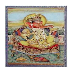 Ganesh Seated on Cushion Tile Coaster