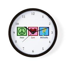 Peace Love Mermaids Wall Clock