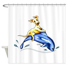 Yellow Lab Dolphin Shower Curtain