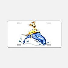 Yellow Lab Dolphin Aluminum License Plate