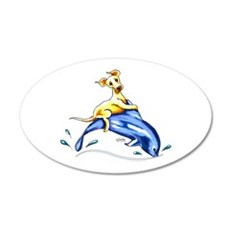 Yellow Lab Dolphin Wall Decal