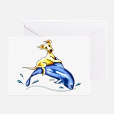Yellow Lab Dolphin Greeting Card