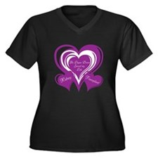 Purple love Triple Heart Women's Plus Size V-Neck