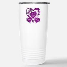 Purple love Triple Heart Stainless Steel Travel Mu