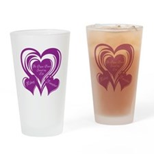 Purple love Triple Heart Drinking Glass