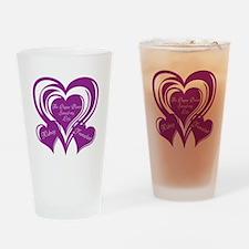 Purple love Triple Heart Drinking Glass