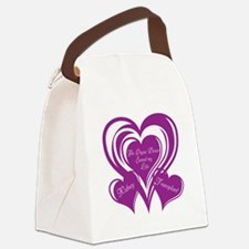 Purple love Triple Heart Canvas Lunch Bag