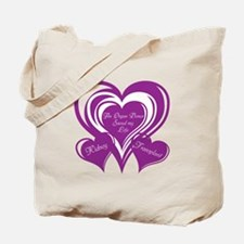 Purple love Triple Heart Tote Bag