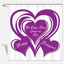 Purple love Triple Heart Shower Curtain