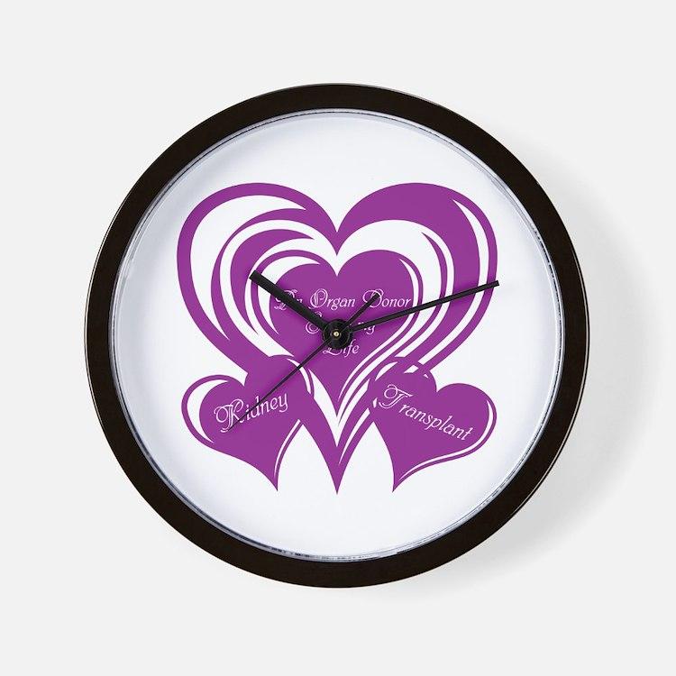 Purple love Triple Heart Wall Clock