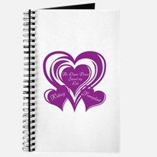 Purple love Triple Heart Journal