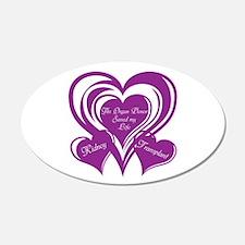 Purple love Triple Heart Wall Decal