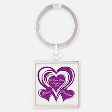 Purple love Triple Heart Square Keychain