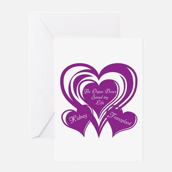 Purple love Triple Heart Greeting Card
