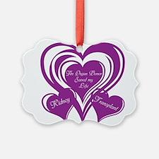 Purple love Triple Heart Ornament