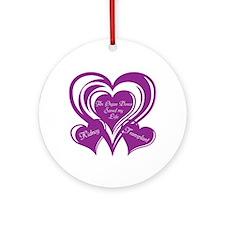 Purple love Triple Heart Ornament (Round)