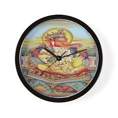 Ganesh Seated on Cushion Wall Clock