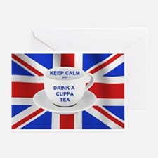 Keep Calm and Drink a Cuppa Tea Greeting Cards (Pk